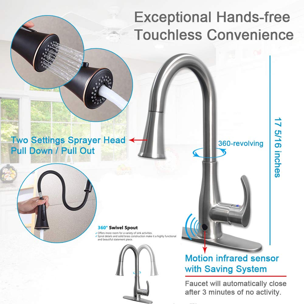 Touchless Kitchen Faucet, Kitchen Sink Faucet with Pull Down Sprayer, Dual Function Pull Out Spray Head, One Hole and 3 Hole Deck Mount, Single Handle For Automatic Motion Sensor, Brushed Nickel