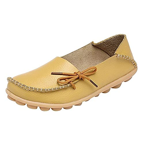 Zapatos de Mujer Cuero Caminar Casual Conducción Plana Mocasines (35,Amarillo)