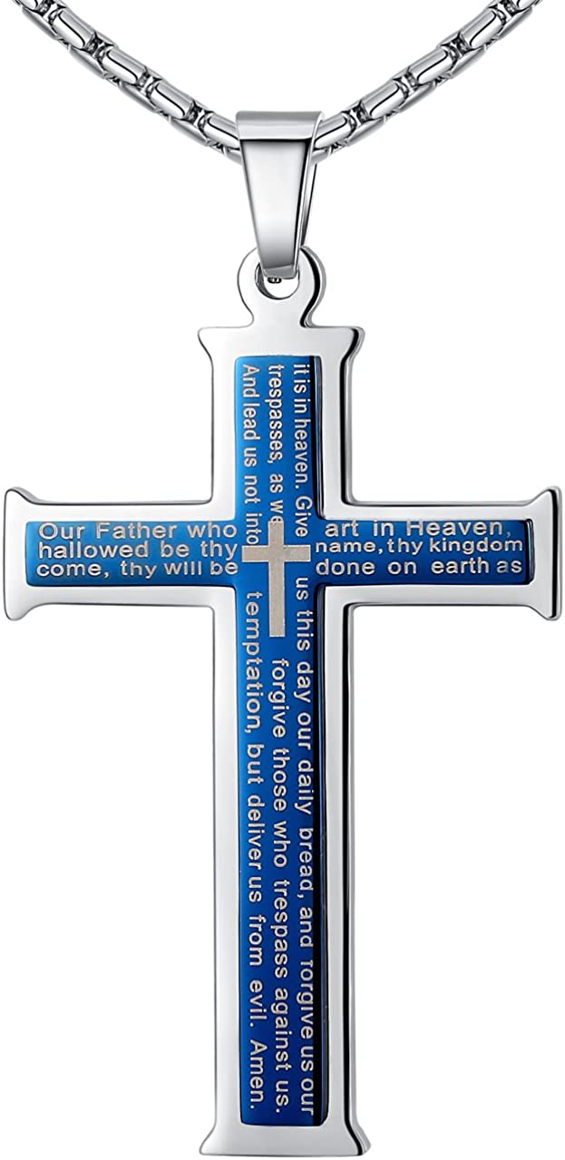 """Aoiy Men's Stainless Steel Large Our Father Lord's Prayer Cross Pendant Necklace, 23"""" Chain"""