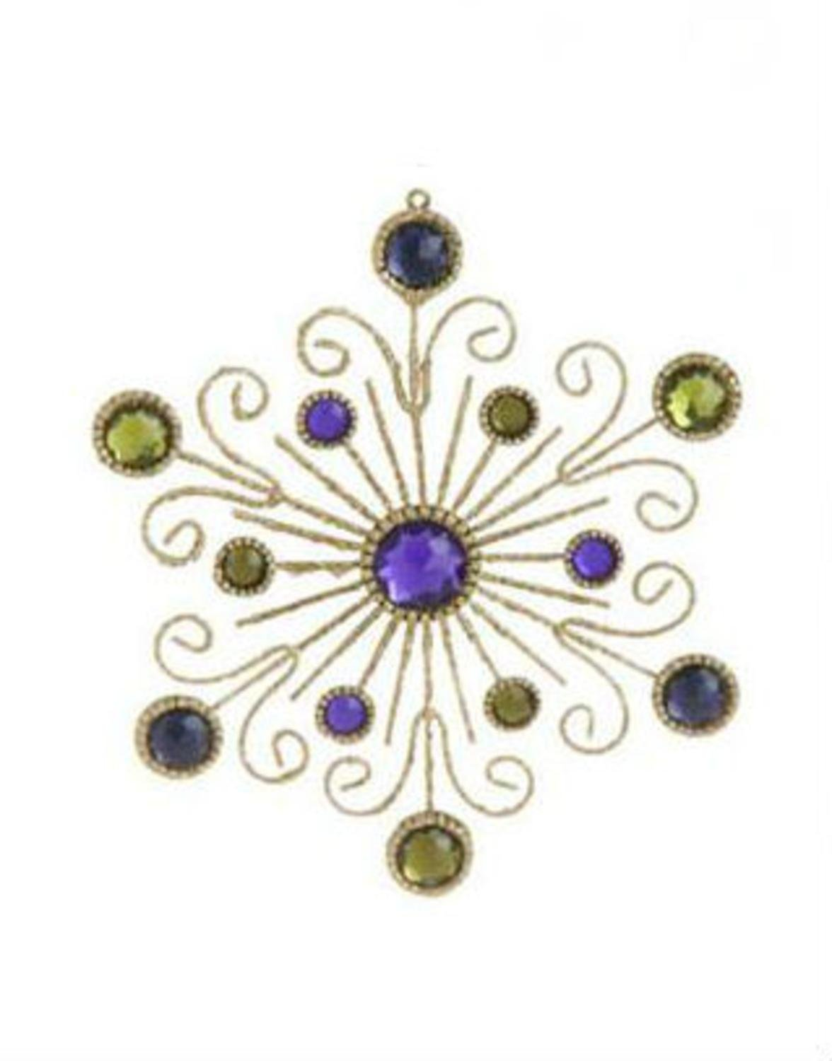 Victorian christmas ornaments - 6 Victorian Inspired Gold Swirl And Purple Gem Snowflake Christmas Ornament