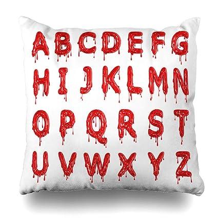 KJONG Red Dripping Blood Halloween Alphabet Letters 3D Zippered Pillow Cover,18 x 18 inch