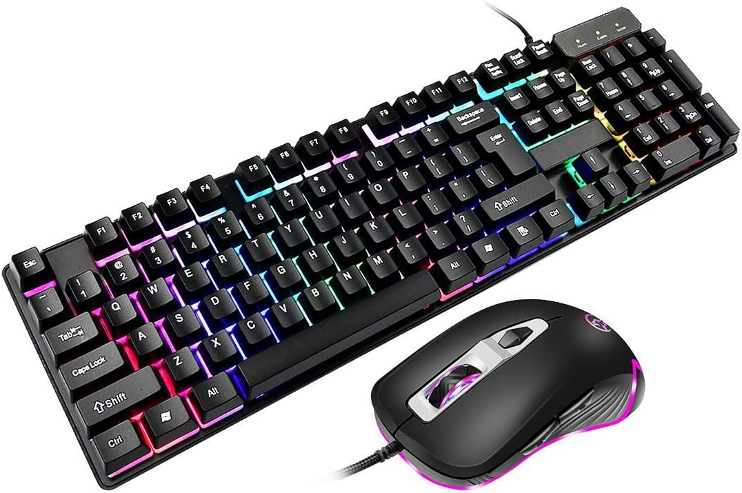 Noblik Y602 Wired Gaming Keyboard Gaming Mouse,Led Rainbow Backlit,with Ergonomic Wrist Rest for Pc Computer Gamers