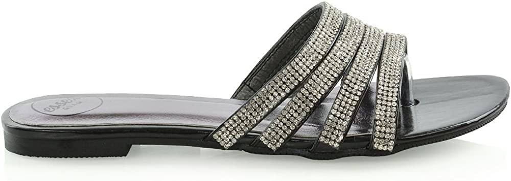 ESSEX GLAM Womens Flat Sandals Slider Rhinestones Slip On Sparkly Shoes
