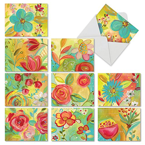 "er Flowers' Greeting Cards - 10 Watercolor Note Cards with Envelopes (Mini 4"" x 5 ¼""), Blank Stationery for Weddings, Baby Showers, Mother's Day, Thank You, Sympathy #M3741OCB-B1x10 ()"