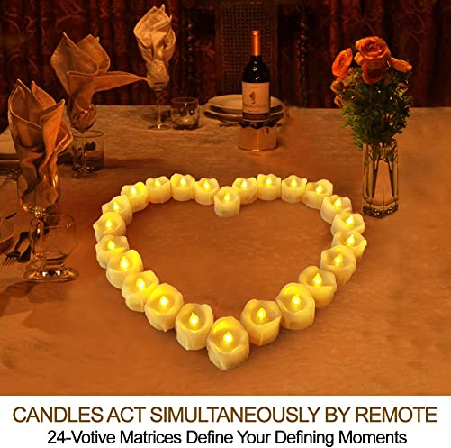HOME MOST Set of 24 LED Votive Candles with Remote and Timer CREAM – LED Flameless Votive Candles Flickering – Wedding Votive Candles Battery Operated Bulk Rustic Wedding Decorations Reception Table