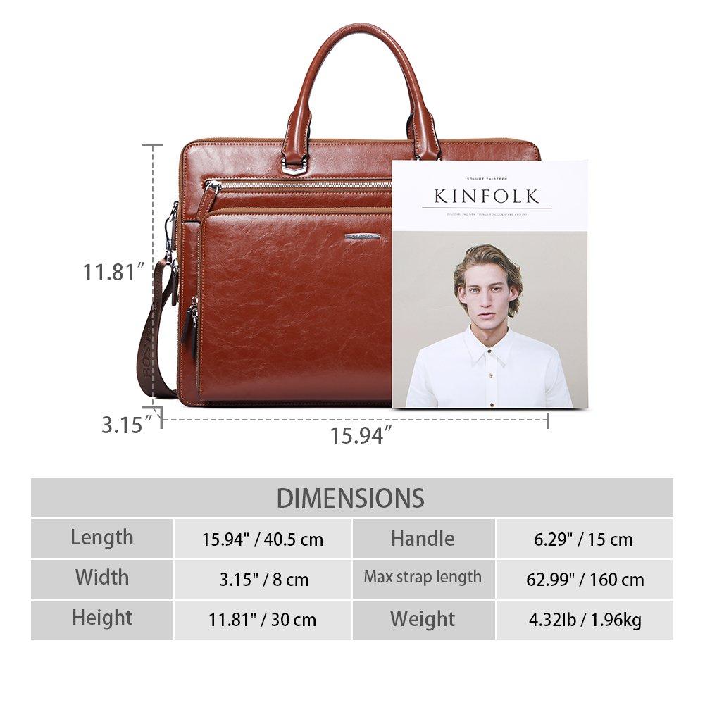 BOSTANTEN Leather Briefcase Shoulder 15.6''Laptop Business Vintage Slim Messenger Bags for Men & Women by BOSTANTEN (Image #3)