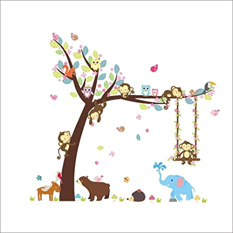 Wall Decals Kid Bedroom Tree Owl Baby Room Decoration Removable-Wallpaper Monkey