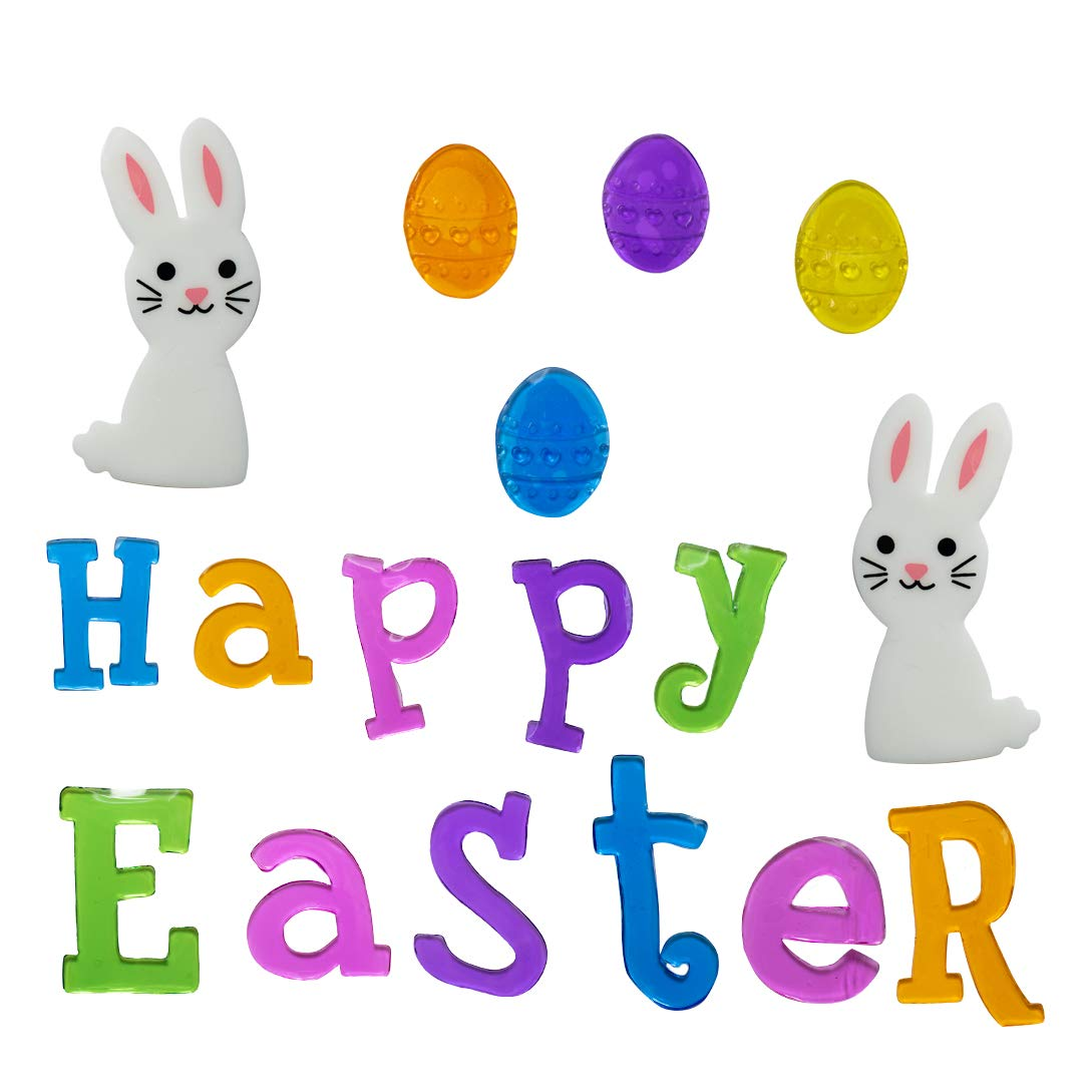 TRIXES Happy Easter Decorative Letter Window Stickers Bunny and Eggs - Multi -Coloured Gel Clings