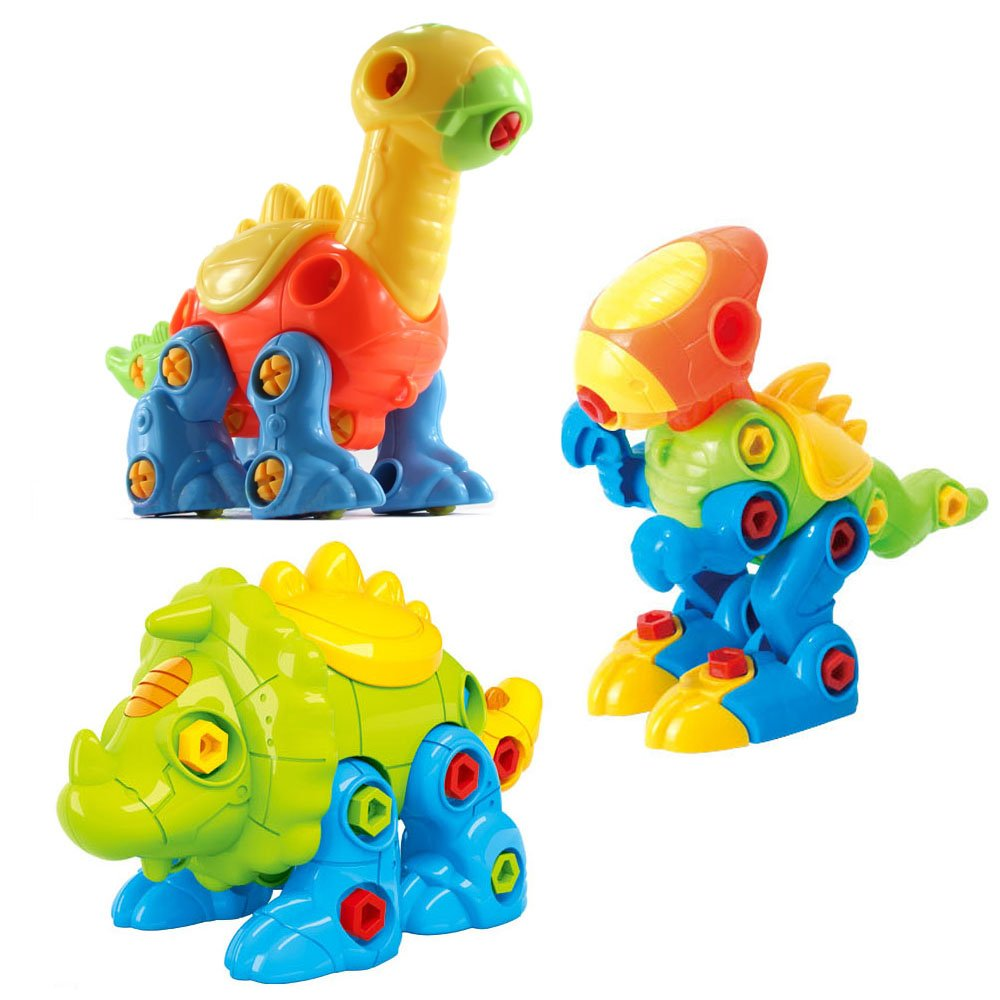 CAILLU Tyrannosaurus rex, Triceratops, Brachiosaurus Toy, take Apart Dinosaur Stem Green Toys DIY Set Fun Learning, Construction Engineering Building Play Set for Boys, Girls, Toddlers, Best Toy Gift Kids