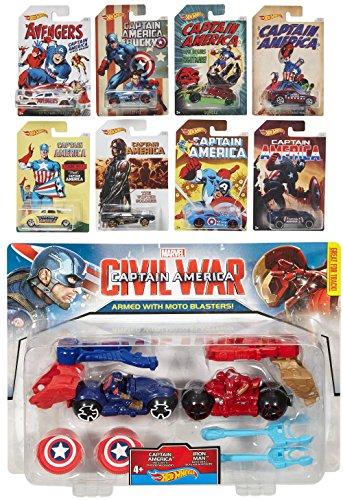 Captain America 75th Avengers Hot Wheels Exclusive Car Sets 8 Cars + Marvel Captain America: Civil War Captain America vs. Iron Man Moto 2-Pack
