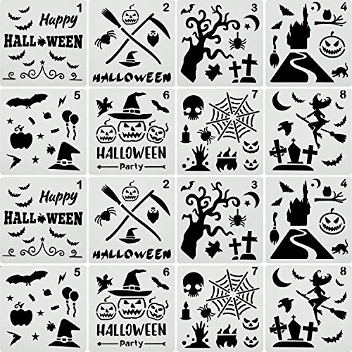 16 Pieces Halloween Stencils Plastic Drawing Templates Theme Painting Template with Pumpkin, Bat, Skeleton, Owl, Hat, Skeleton ()
