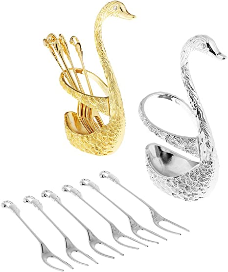 6 Pieces Kitchen Utensil Forks Set with Stainless Steel Swan Holder Rack