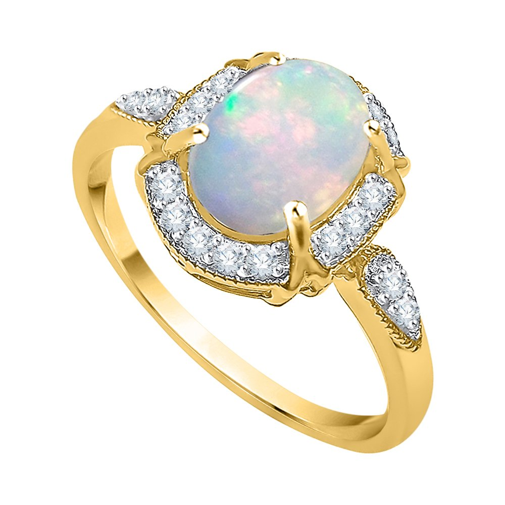 Diamond and Oval Cut Opal Fashion Ring in 10K Yellow Gold (1 cttw) (GH Color, I2-I3 Clarity) (Size-7) by KATARINA