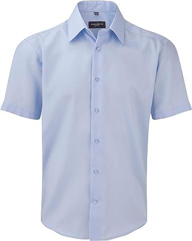 Russell Collection - Camisa de Manga Corta Entallada Diseño Tailored Ultimate Modelo Non-Iron Hombre Caballero - Trabajo/Boda/Fiesta: Amazon.es: Ropa y accesorios
