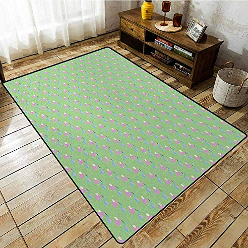 Pet Rug,Baby,Child Birth Announcement Celebration Theme Pattern with Birds Carrying Newborn Babies,with No-Slip Backing,4'7