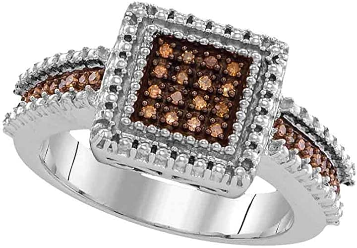 Sterling Silver Anniversary Cocktail Ring Pave Brown Cubic Zirconia