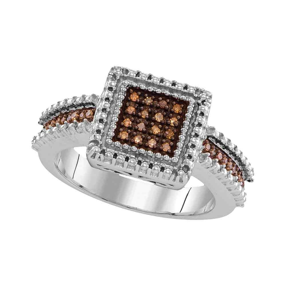 Sterling Silver Brown Diamond Ring Cocktail Band Square Chocolate Cluster Style Pave Set Polished 1/6 ctw