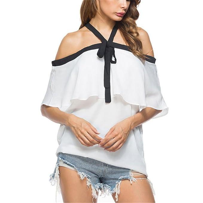 dangyin Verano de Las Señoras Llegada Arco Halter Top Blusas de Las Mujeres de Moda Blanco de la Blusa de la Colmena del Hombro: Amazon.es: Ropa y ...