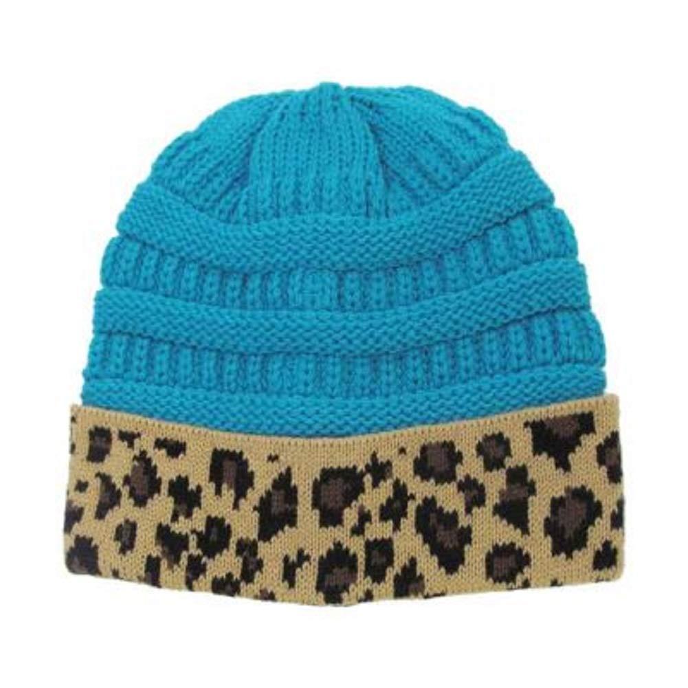 KB Winter Fall Knitted Acrylic Toboggan Skully Beanie Hat Cheetah Leopard