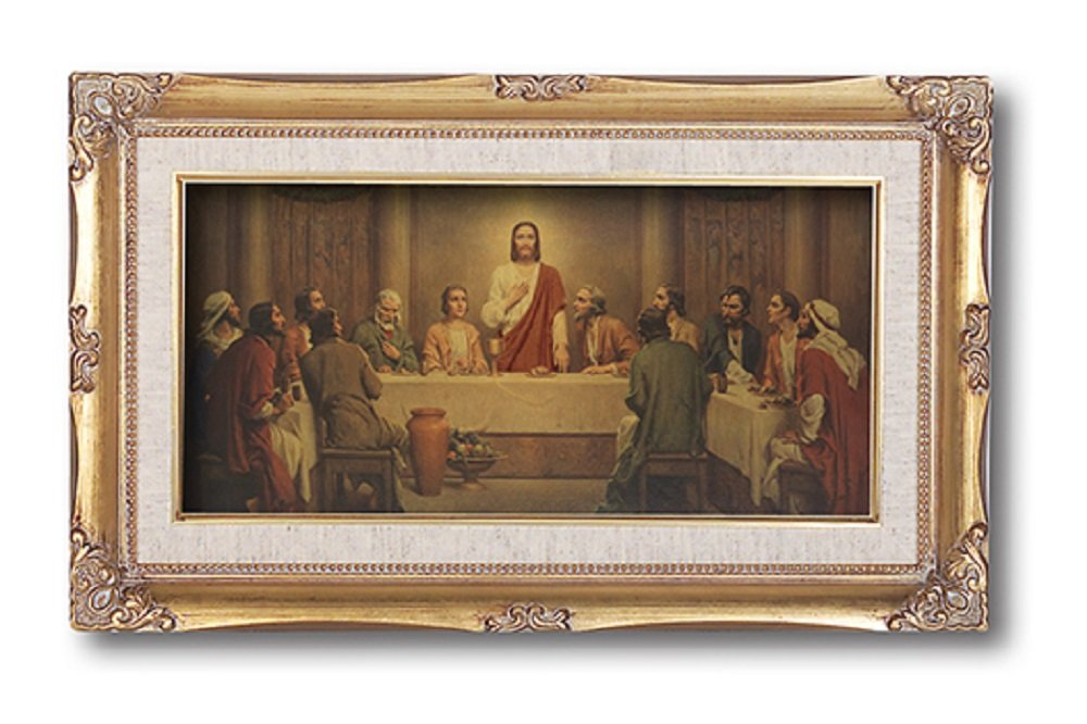 The Last Supper By Chambers FAUX Gold Leaf Wood Framed Pictures Under Glass Size 14'' x 24''