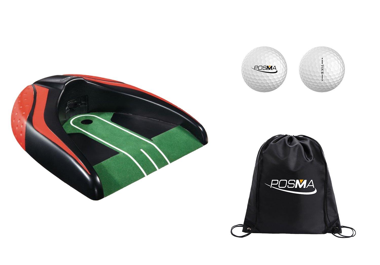 POSMA PG140RD-A Golf Kickback Putt Cup Gift Set Auto Return Putting Cup Golf Putter Trainer