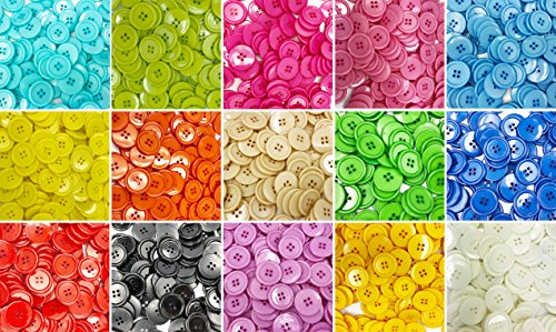 Efivs Arts 150pcs 15/16″(25mm) 4 Hole Sewing Flatback Resin Buttons for Sewing DIY Crafts Project with Box, 15 Colors