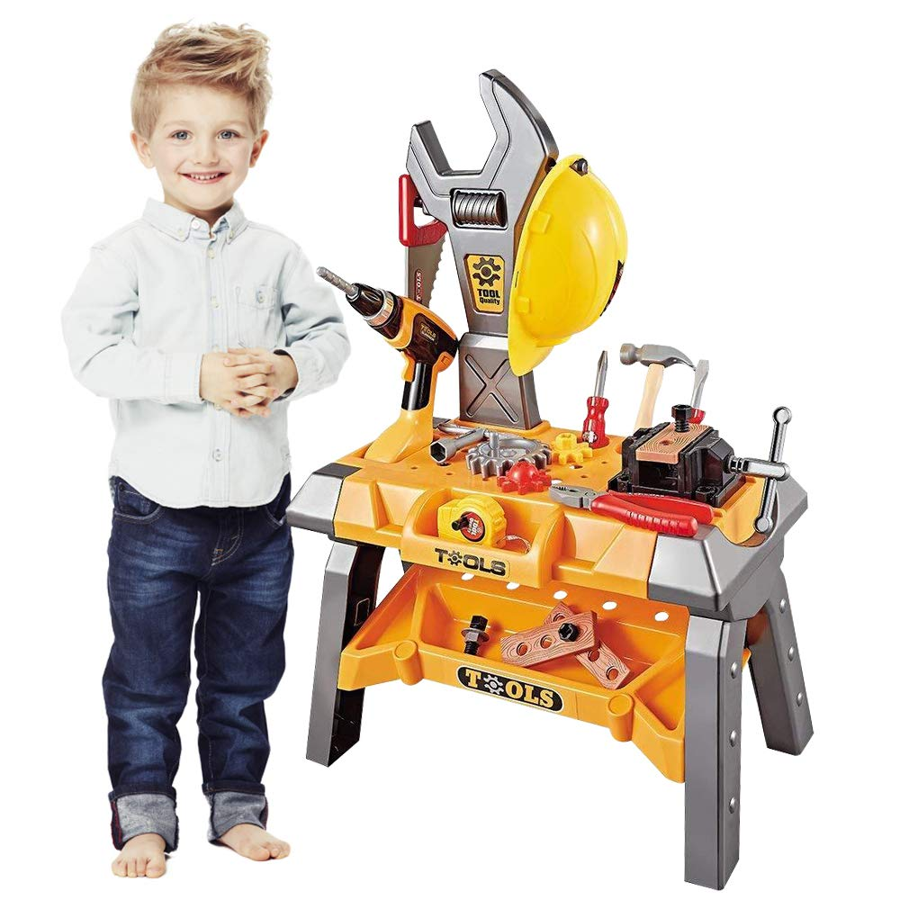 Kids Toy Tool Workbench, 74 Pieces King Size Kids Power Tool Bench Construction Set with Tools Toy Drill and Helmet, Toddlers Toy Shop Tools for Boys ZHENG YUAN TOYS FACTORY