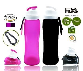 Silicona Botella de Agua Plegable Weisika 2PCS con Válvula a Prueba de Fugas – Cantimplora Reutilizable