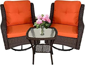 3-Piece Outdoor Wicker Patio Garden Furniture Set 360-Degree Swivel Rocker Cushioned Chairs Outside Conversation Bistro Sets w/Coffee Table for Small Space Deck Porch 350 LBS Weight Capacity Orange