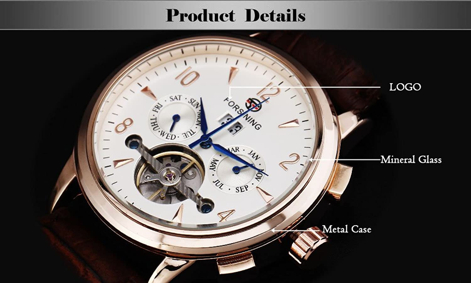 Amazon.com: FORSINING Mens Classic Multi-Function Leather Strap Auto Date Michanical Tourbillon Automatic Watches: Watches