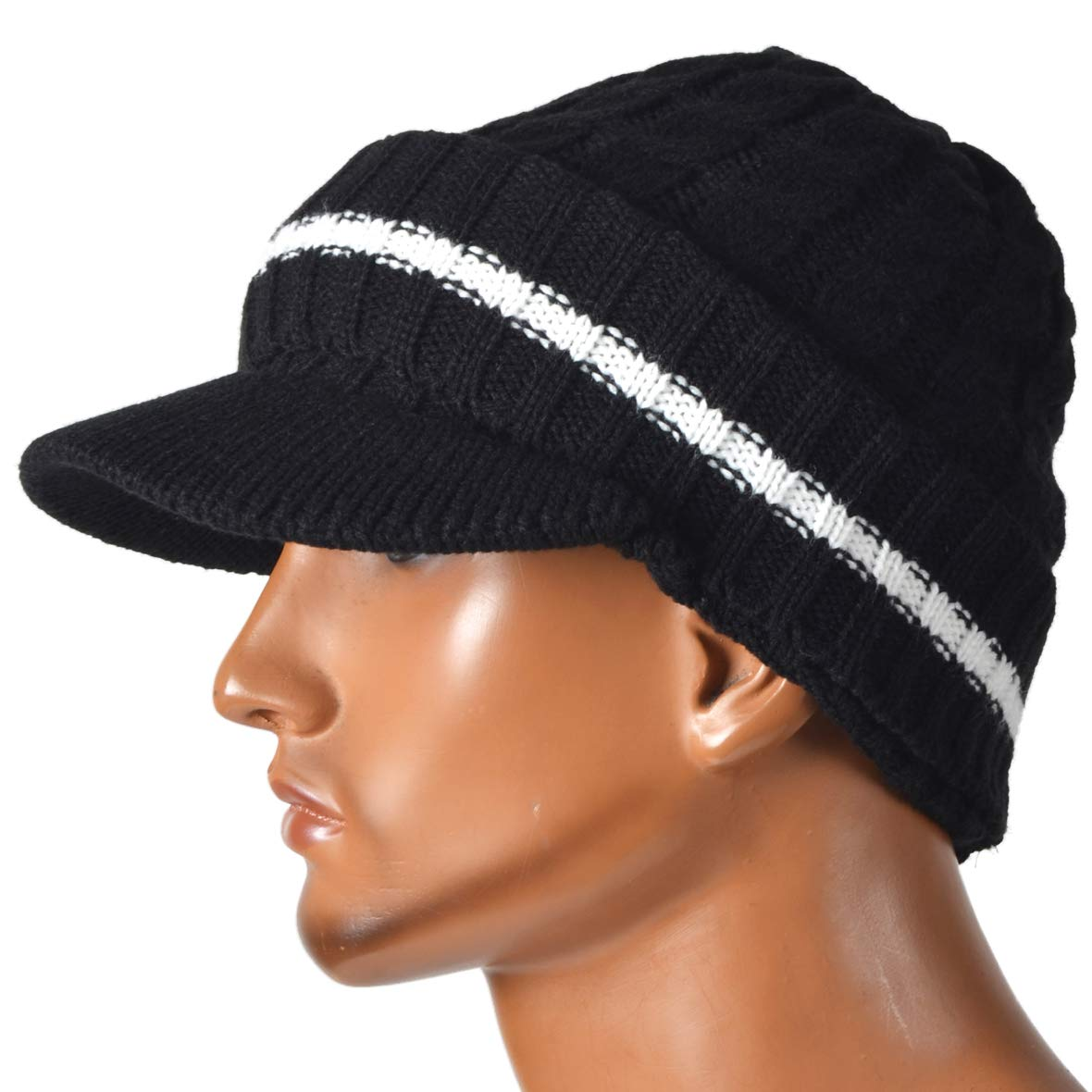 a5fa63b545b Retro Newsboy Knitted Hat with Visor Bill Winter Warm Hat for Men (Black)  at Amazon Men s Clothing store