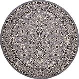 Unique Loom Kashan Collection Gray 8 ft Round Area