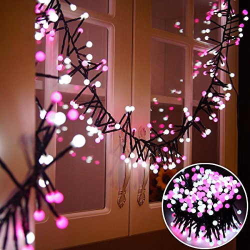 (Litake Globe String Lights, 26ft 400 LEDs Waterproof Christmas Lights, 8 Modes Outdoor Indoor Decorative Fairy Lights for Christmas, Garden, Bedroom, Party, Wedding, UL Listed (Pink+White))
