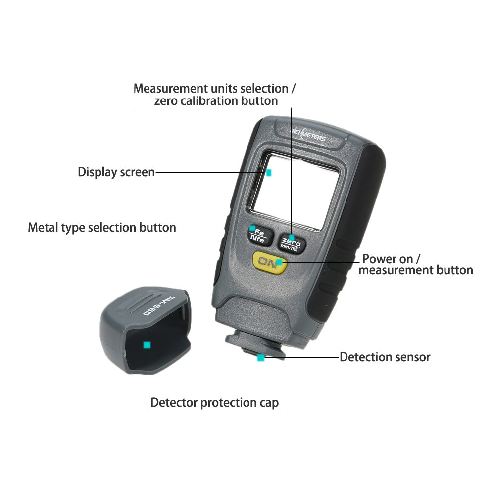 Grandey RM660 Digital Paint Coating Thickness Gauge LCD feeler gauge Tester Fe/NFe 0-1.25mm for Car Instrument Iron Aluminum Base Metal by Grandey (Image #5)