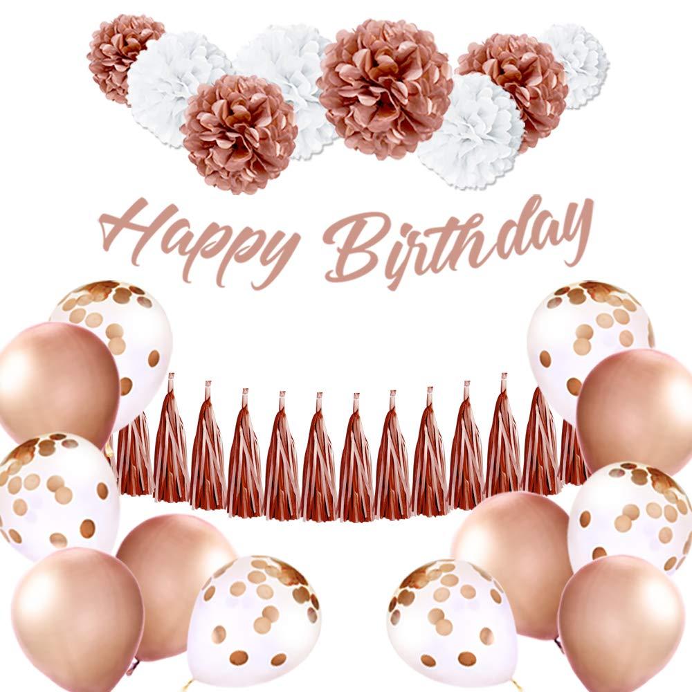 EpiqueOne Rose Gold Birthday Decoration Set: Happy Birthday Banner, Tassel Garland, Latex Balloons, Confetti Balloons, Tissue Paper Pom by EPIQUEONE