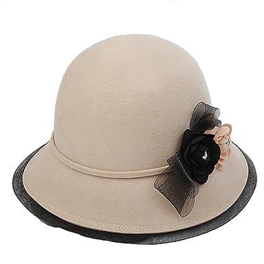 Cloche Dressy Hat Girl Lady Vintage Elegant Flower Autumn Winter Wool Felt  Cap 8c0b6b0e8ee