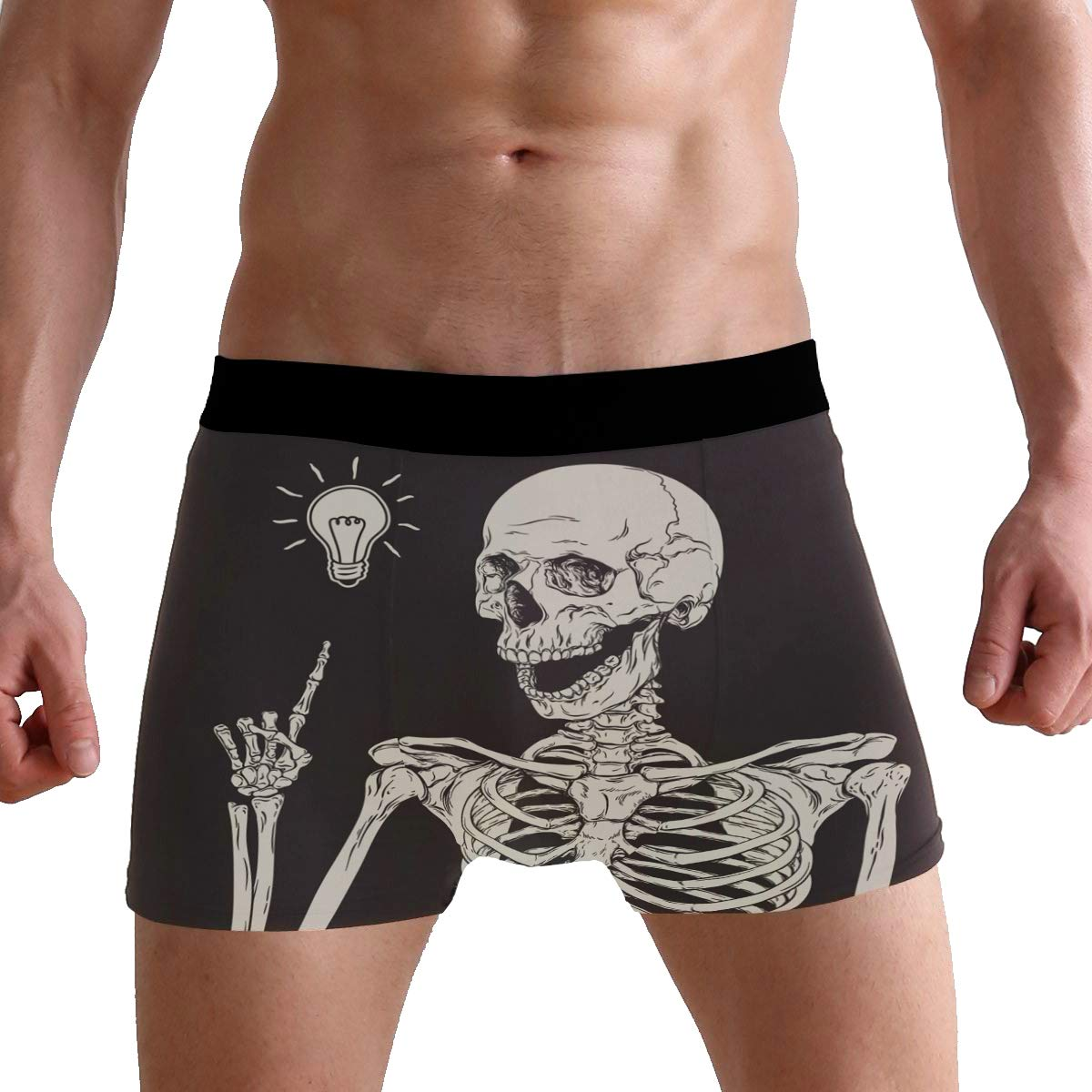 SUABO Men Boxer Briefs Polyester Underwear Men 2 Pack Boxer Briefs for Valentines Day with Human Skeleton Pattern