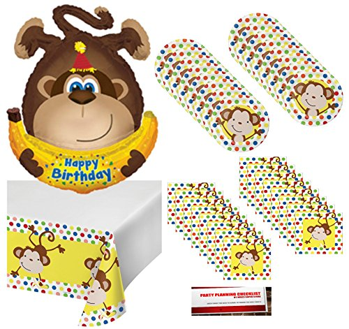 Curious Fun Monkey Happy Birthday Party Supplies Bundle Pack for 16 with Giant 34 Inch Monkey Balloon (Plus Party Planning Checklist by Mikes Super Store) (Napkin Monkey)