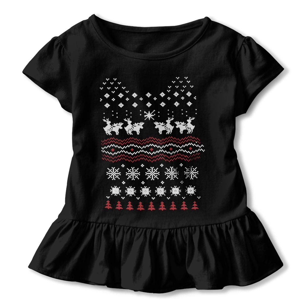 2-6T Zi7J9q-0 Short-Sleeve Humping Moose Holiday Shirts for Kids Fashion Sweatshirt with Falbala