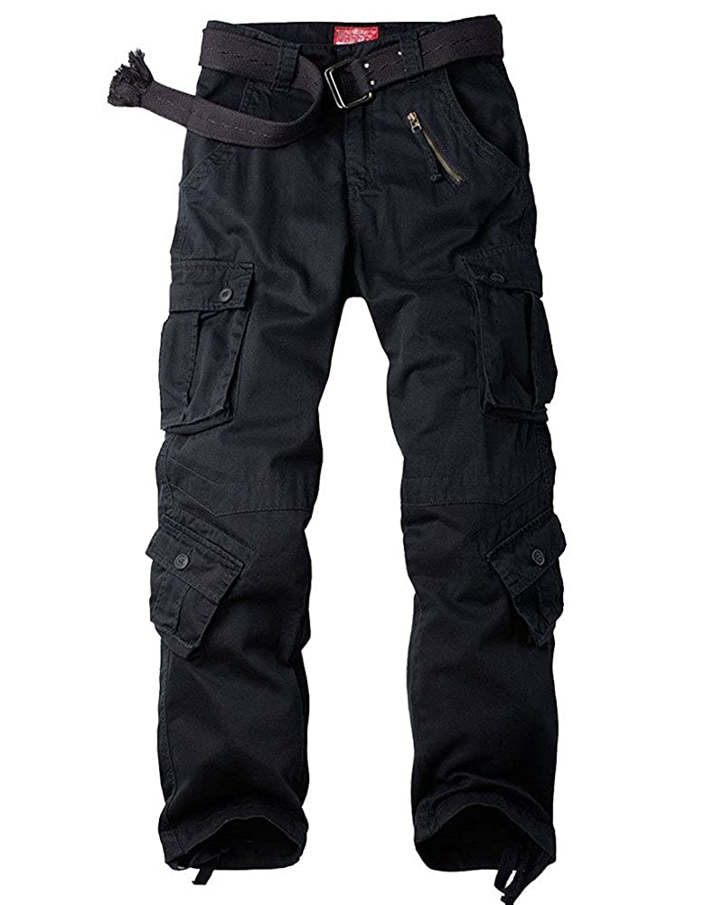 TALLA 32. Jessie Kidden Hombres Suelto Algodón Pantalones Cargo con 8Bolsillos # 7533