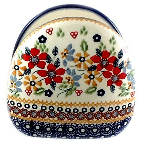 Polish Pottery Napkin Holder in Signature DPLC Christmas (Polish Pottery Napkin Holder)