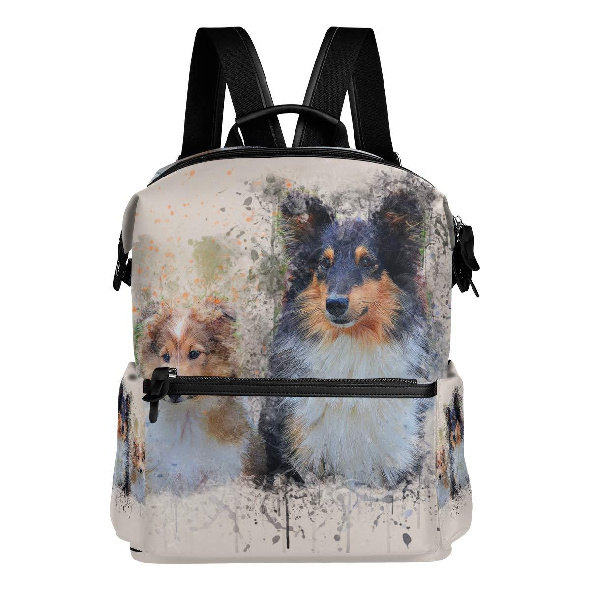 9cdf6a2f45 FAJRO - - - Zaino da viaggio per la scuola, motivo cani e acquerelli 767ff6