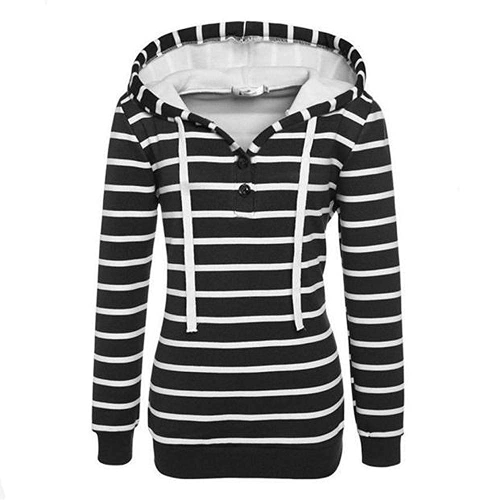 Doublelift Womens Pullover Long Sleeve Stripe Hoodies Casual Tunic Top Blouse Button