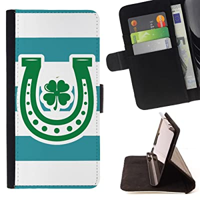FJCases Patrón de Rayas Herradura Trébol Suerte (Turquesa) Carcasa Funda Billetera con Ranuras para Tarjetas y Soporte Plegable para HTC U11