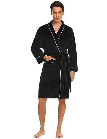 ADOME Herren Bademantel Saunamantel Morgenmantel Flauschig mit Gürtel und Tasche  weiche Gemütliche Robe , Farbe Schwarz