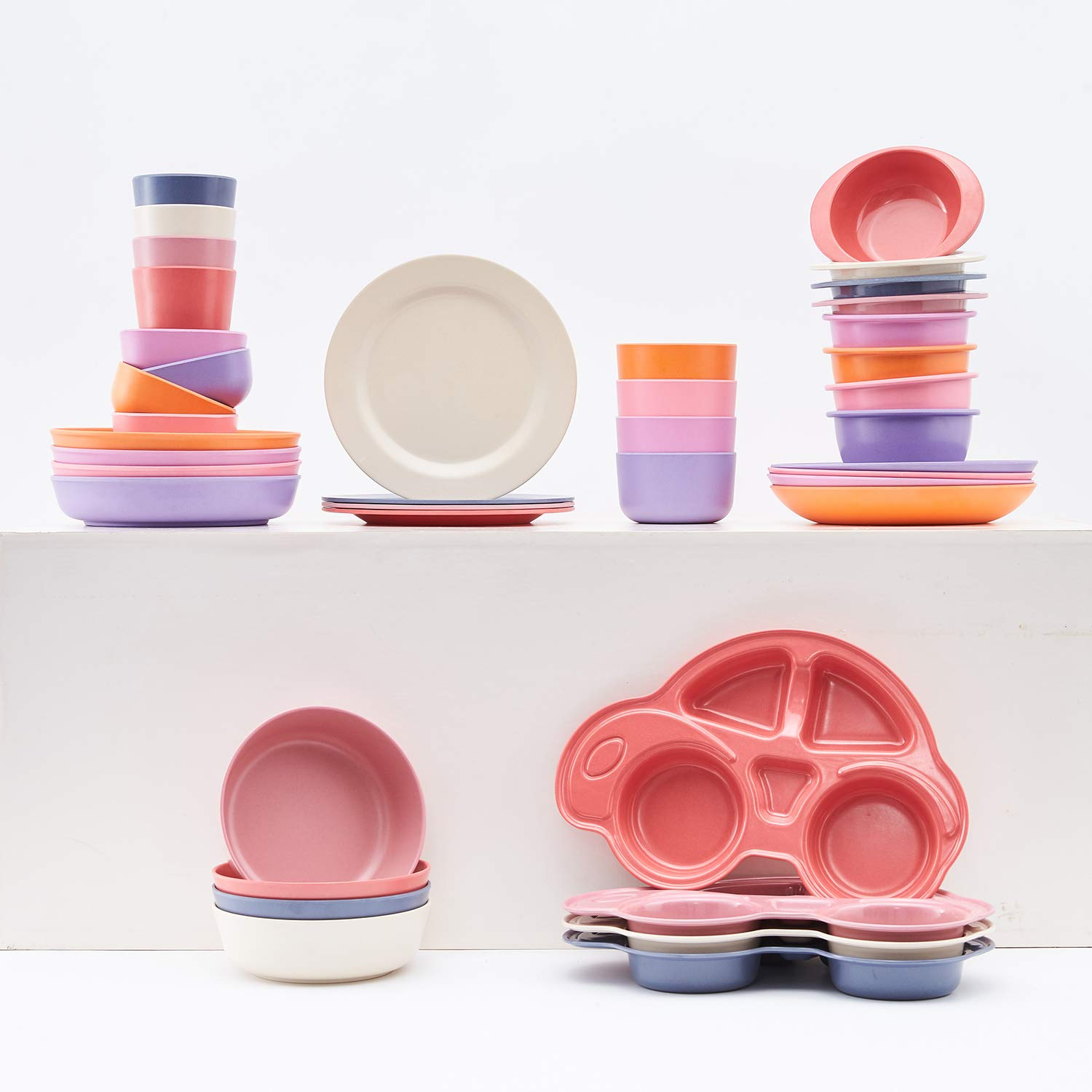 """Eco-Friendly Tableware for Baby Toddler Kids Bamboo Toddler Dishes /& Dinnerware Sets Non Toxic /& Safe Toddler Plates 4pcs Bamboo Kids Plates for Baby Feeding 8/"""" x 8/"""" x 1/"""""""