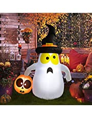 4Ft Halloween Inflatables Cute Ghost with Pumpkins Decorations Outdoor, Halloween Blow Up Yard Decorations Build-In Led Lights for Outside Garden Lawn Party Airblown Decor