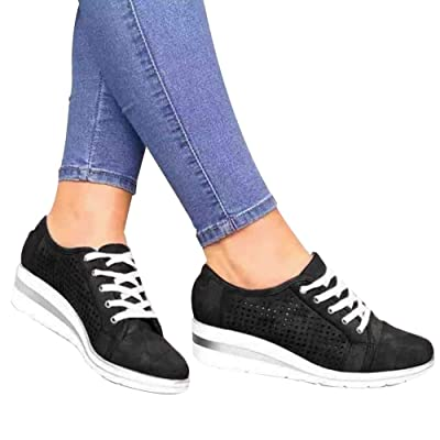 2020 New High Heeld Wedge Sneakers Women's Outdoor Sneakers Fashion Casual Hollow Fashion Casual for Women Wedge Sneakers: Clothing