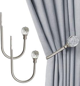 Crystal Curtain Holdbacks, 2PCS U Shaped Hook Wall Mounted Tassel Curtain Tieback Hook Drapery Tiebacks (Silver Nickel)