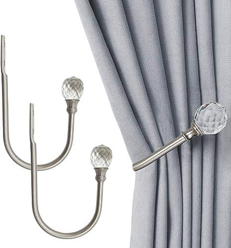 Silver BTSKY/® 2 Pieces Clear Crystal Wall Mounted Curtain Holdbacks Tassel Curtain Tieback Hook Multi Use Wall Hook Coat Hanger